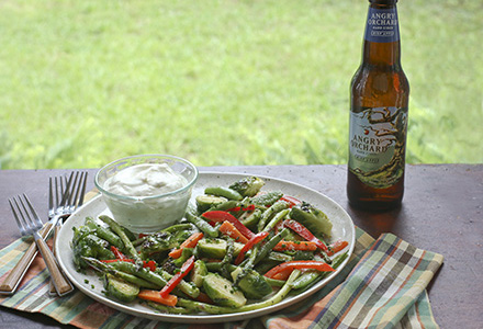 grilled vegetable salad with creamy angry orchard crisp apple hard cider vinaigrette