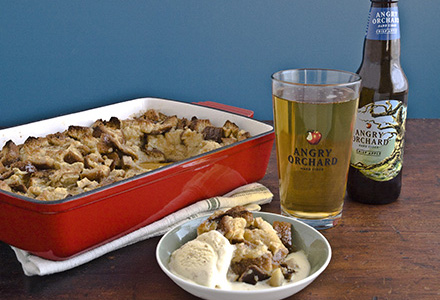 maple bread pudding with cider soaked apples and cinnamon cider ice cream